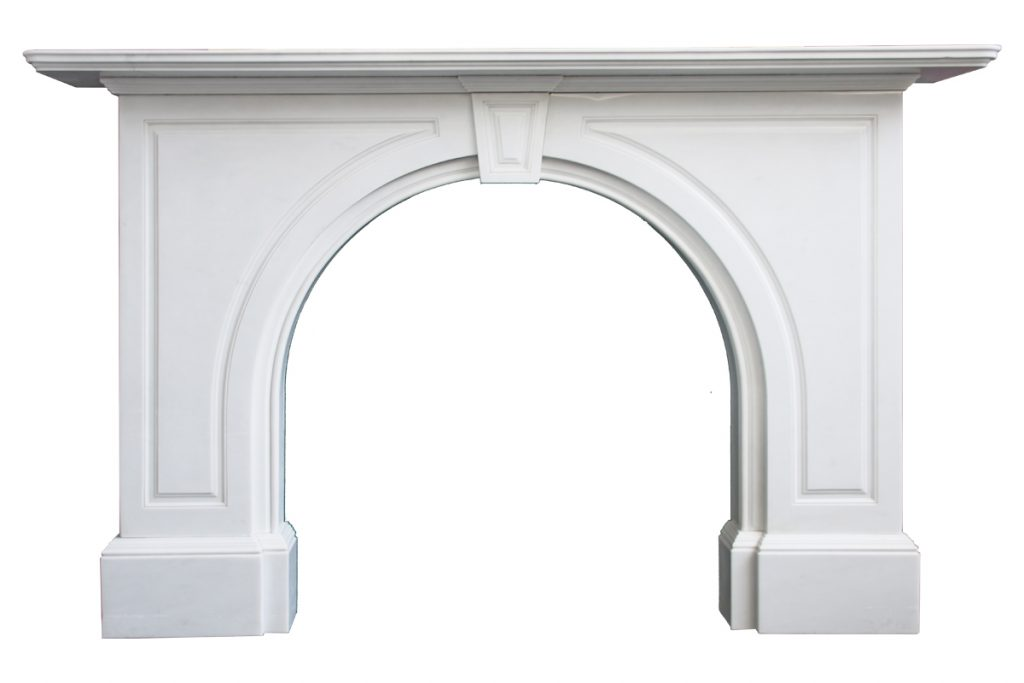 Late Victorian statuary marble fireplace with an arched aperture-0