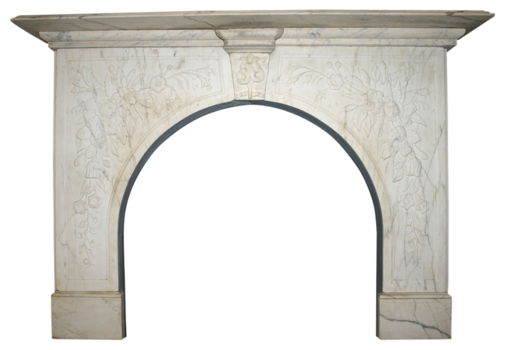 Antique Victorian white marble arched fireplace -0