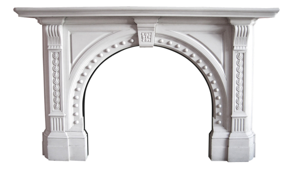 Antique late Victorian statuary marble fire surround. -0