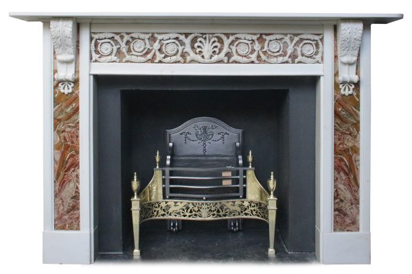 Antique 18th Century George III statuary white marble fire surround.-0