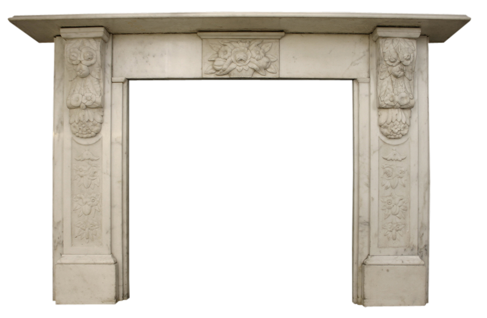 Victorian antique carved statuary marble fire surround-0