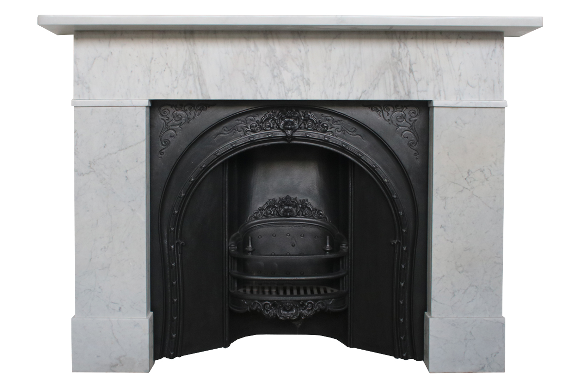 Simple Mid 19th Century Victorian Carrara Marble Fireplace Surround Nostalgia