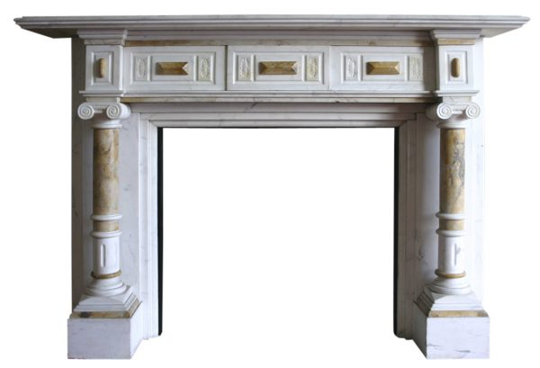 Antique late Victorian statuary white marble fire surround with sienna marble pillars-0