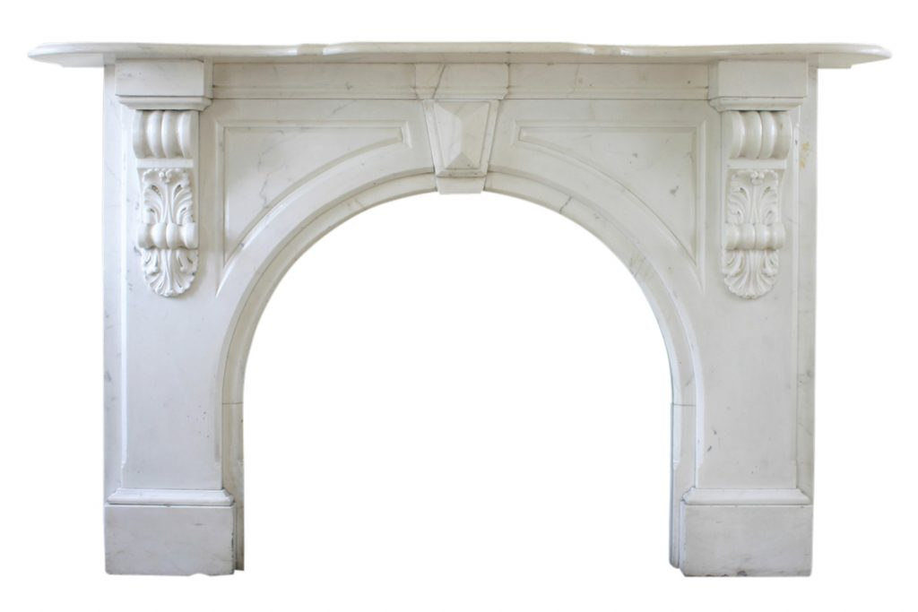 Victorian Statuary white marble fireplace surround-0