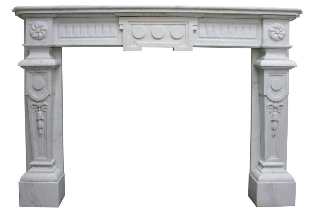 Antique Continental 19th century white marble fireplace surround-0
