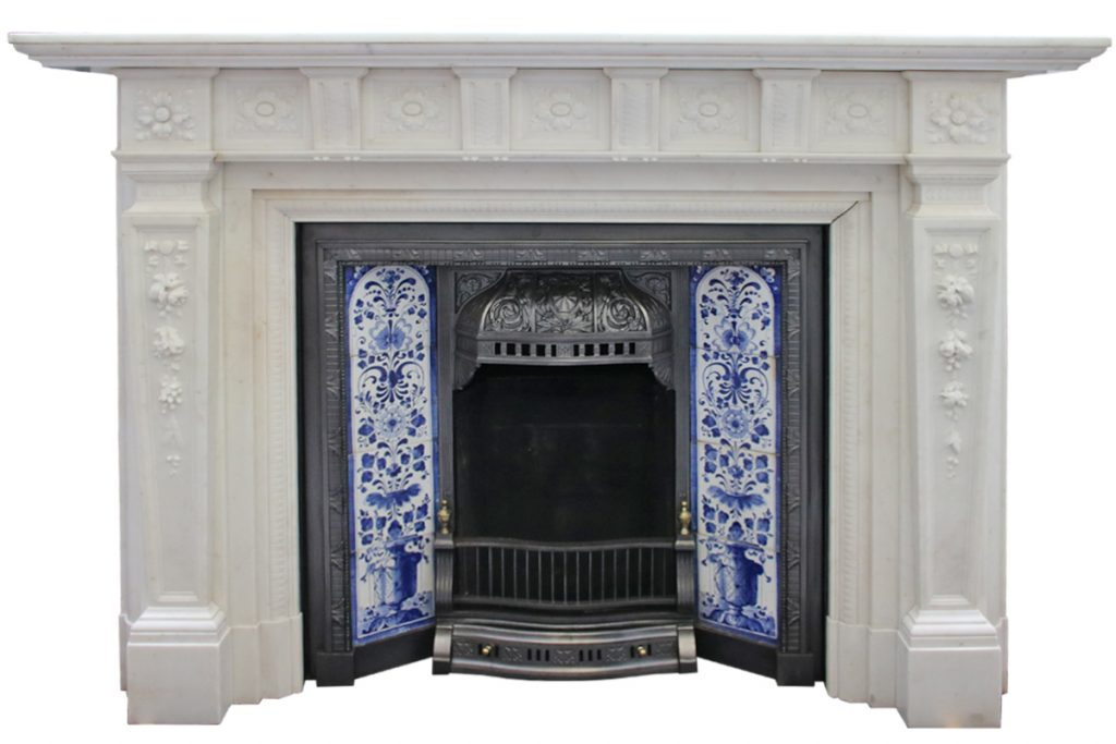Antique Edwardian Carved Statuary Marble Fire Surround-0