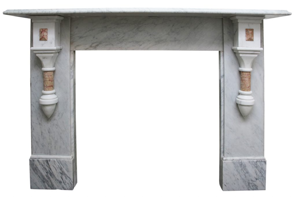 19th Century Victorian pillared Carrara marble fireplace surround-0