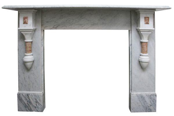 19th Century Victorian pillared Carrara marble fireplace surround-0