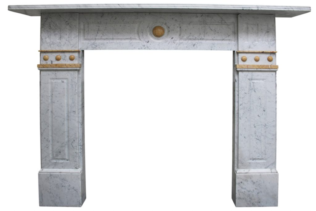 Antique 19th Century Victorian Carrara and Sienna marble fireplace-0