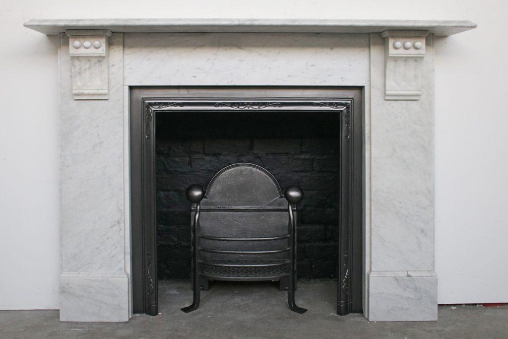 Victorian white Carrara marble fire surround-0