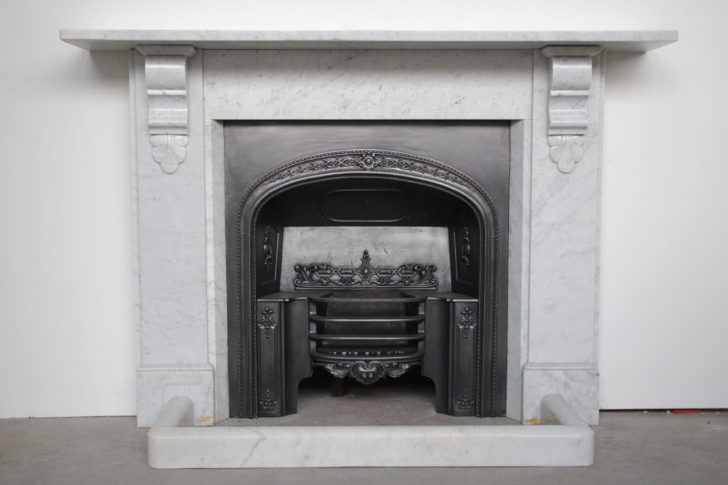 Antique 19th century Victorian Carrara Marble Fireplace Surround-0