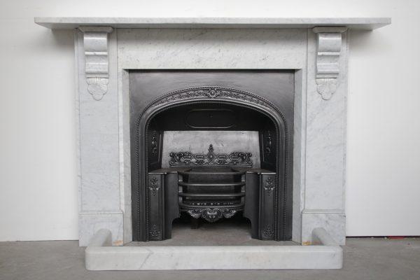 Antique 19th century Victorian Carrara Marble Fireplace Surround-0