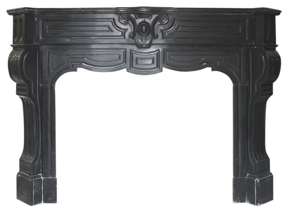 Antique Belgian black marble fireplace surround with cabriole legs-0