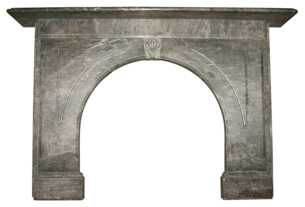 Reclaimed Victorian archhed grey marble fire surround-0
