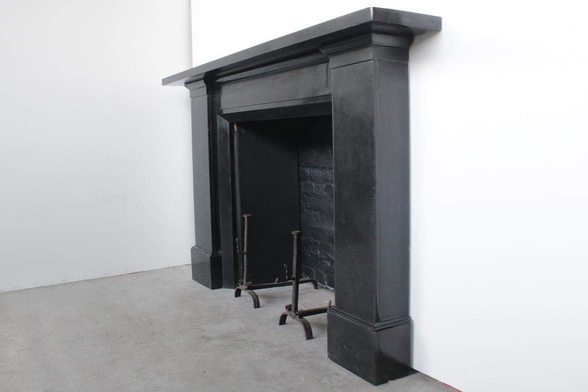 Large Austere Victorian Black Marble Fireplace Surround Nostalgia