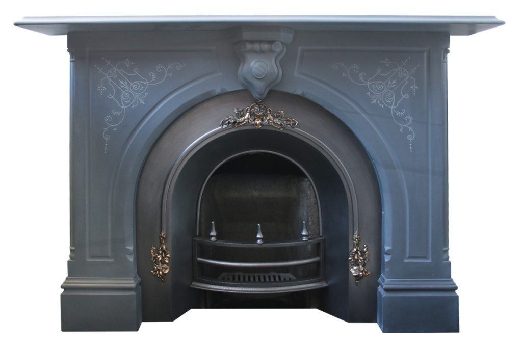 A substantial mid Victorian carved slate fire surround -0