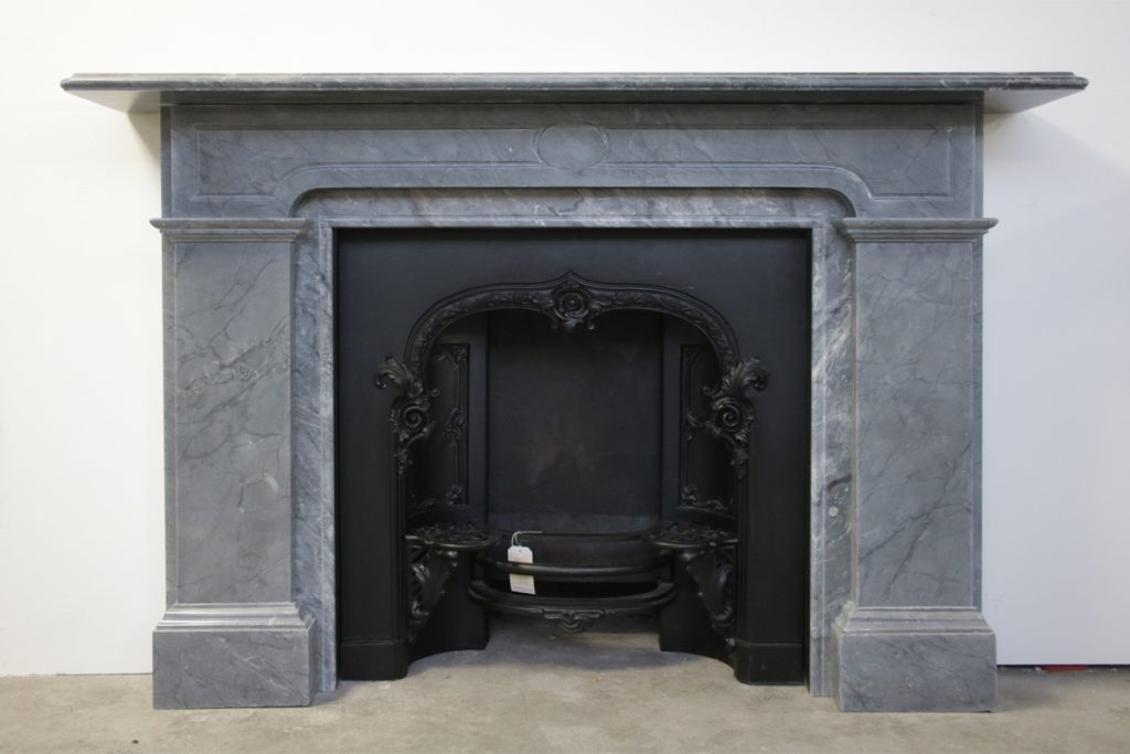 Large antique 19th century grey marble fireplace-0