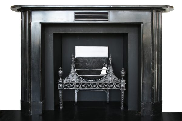 large antique early 19th century Georgian black marble fireplace surround-0