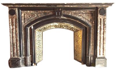 Salvaged antique Victorian Breccia marble surround.-0