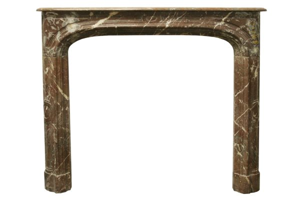 Antique 19th Century Rouge Louis XV style marble fireplace surround.-0