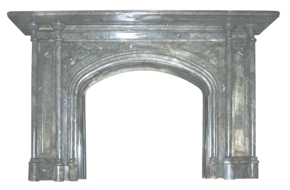 Reclaimed Victorian gothic grey marble fireplace-0