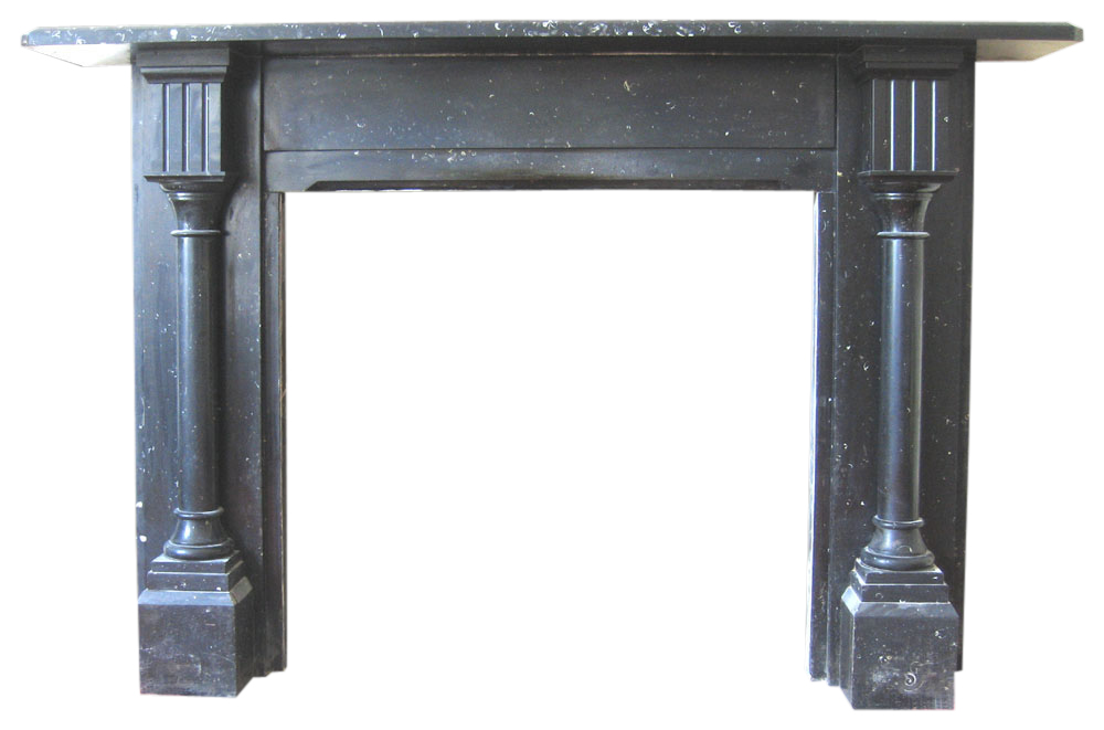 Reclaimed Victorian black fossil marble fireplace -0