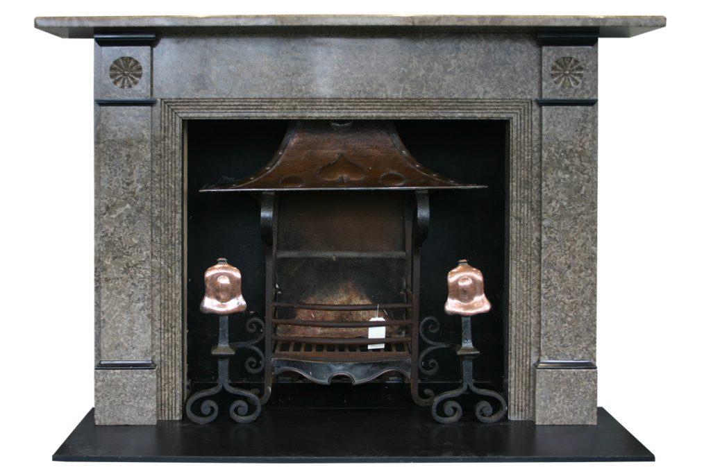 Antique Edwardian Derbyshire limestone fireplace surround-0