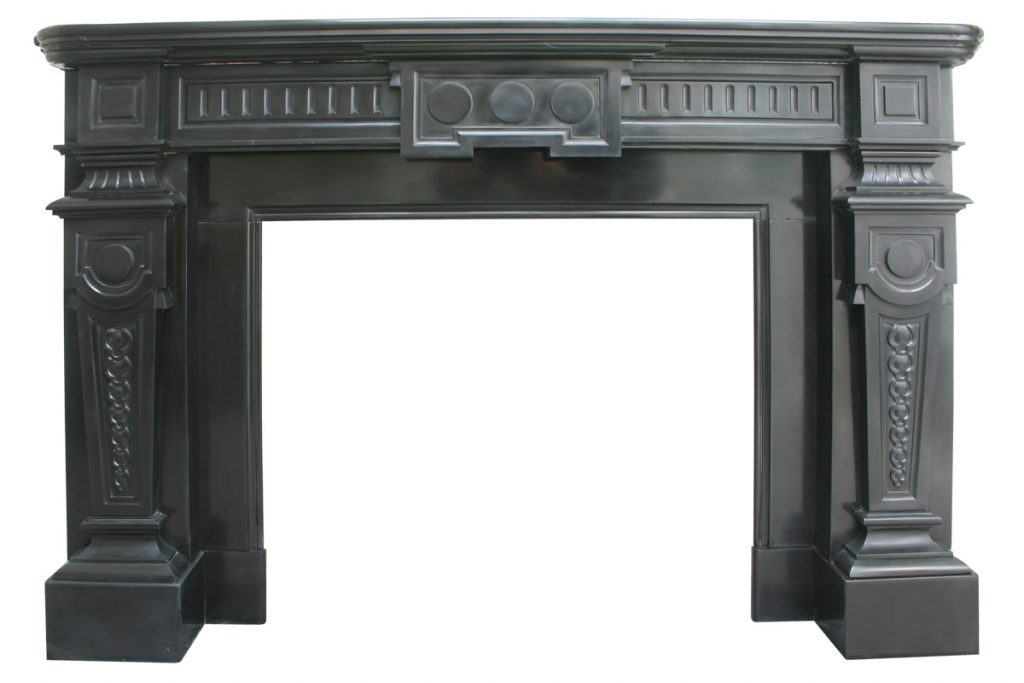 Antique 19th century Continental black marble fire surround-0