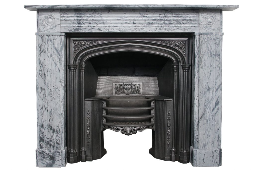 Antique Regency grey marble fire surround-0
