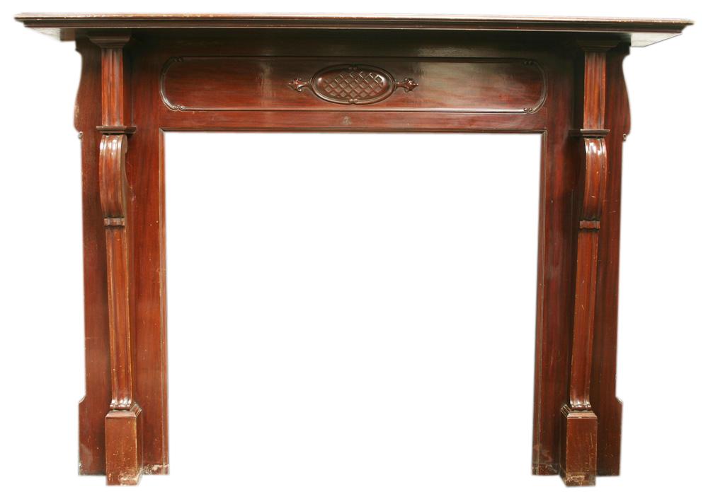 Reclaimed Edwardian mahogany fireplace. -0