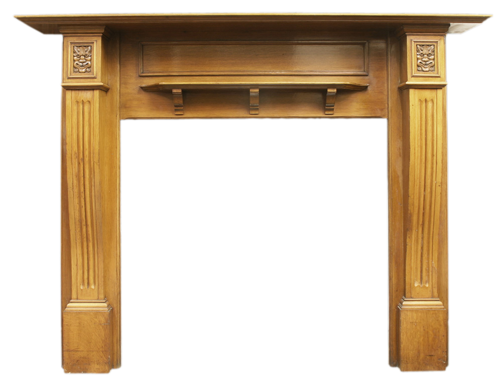 Reclaimed Edwardian oak fire surround carved with green man-0