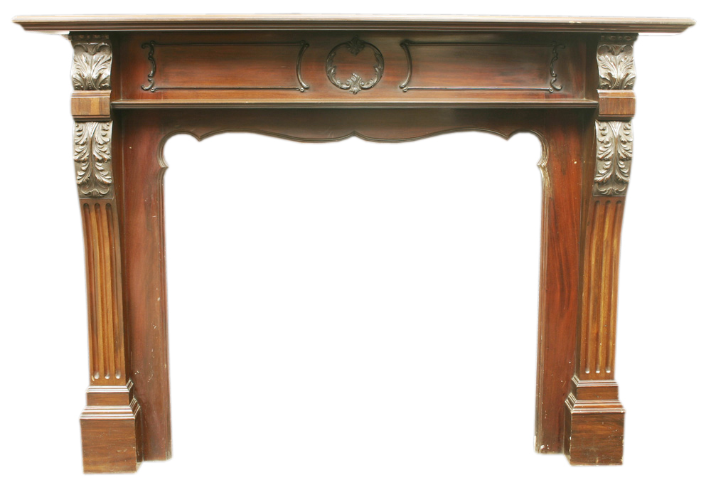Antique Edwardian Chippendale style mahogany fire surround. -0