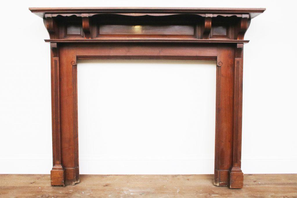 Reclaimed Edwardian walnut fireplace surround-0