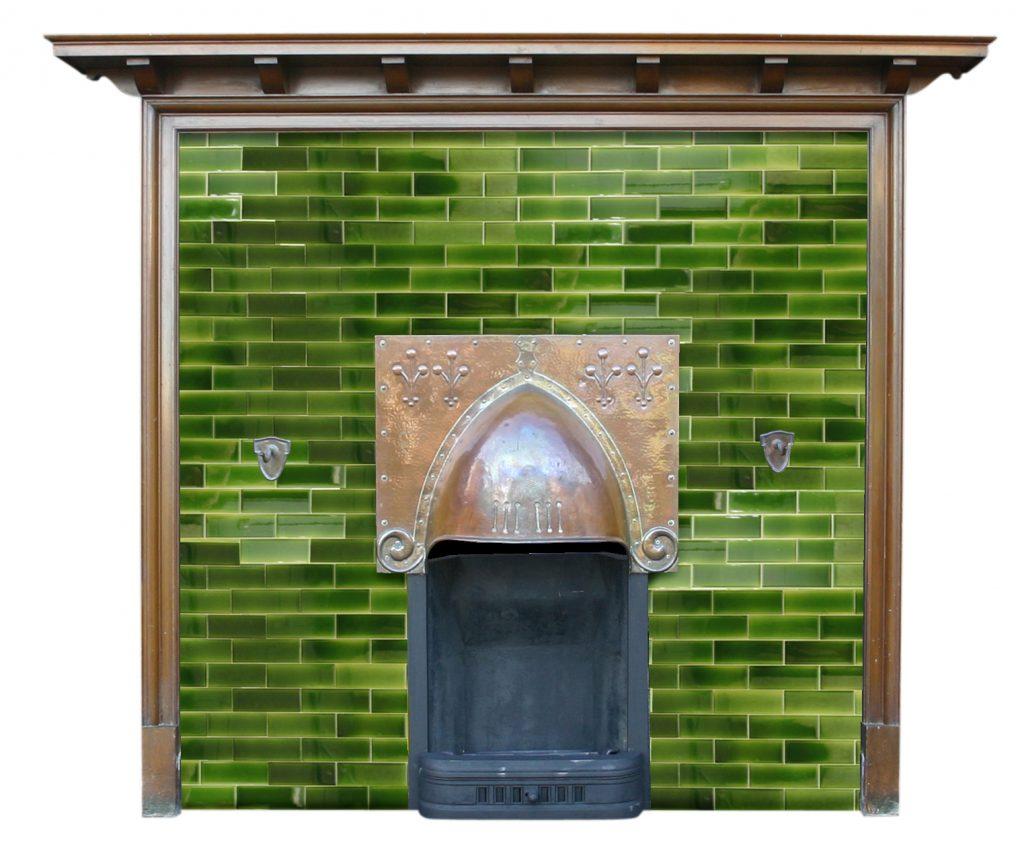 Antique Edwardian Art & Crafts walnut fire surround with tiled back panel-0