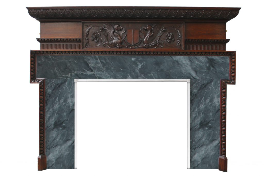 Antique Victorian carved oak fireplace surround-0