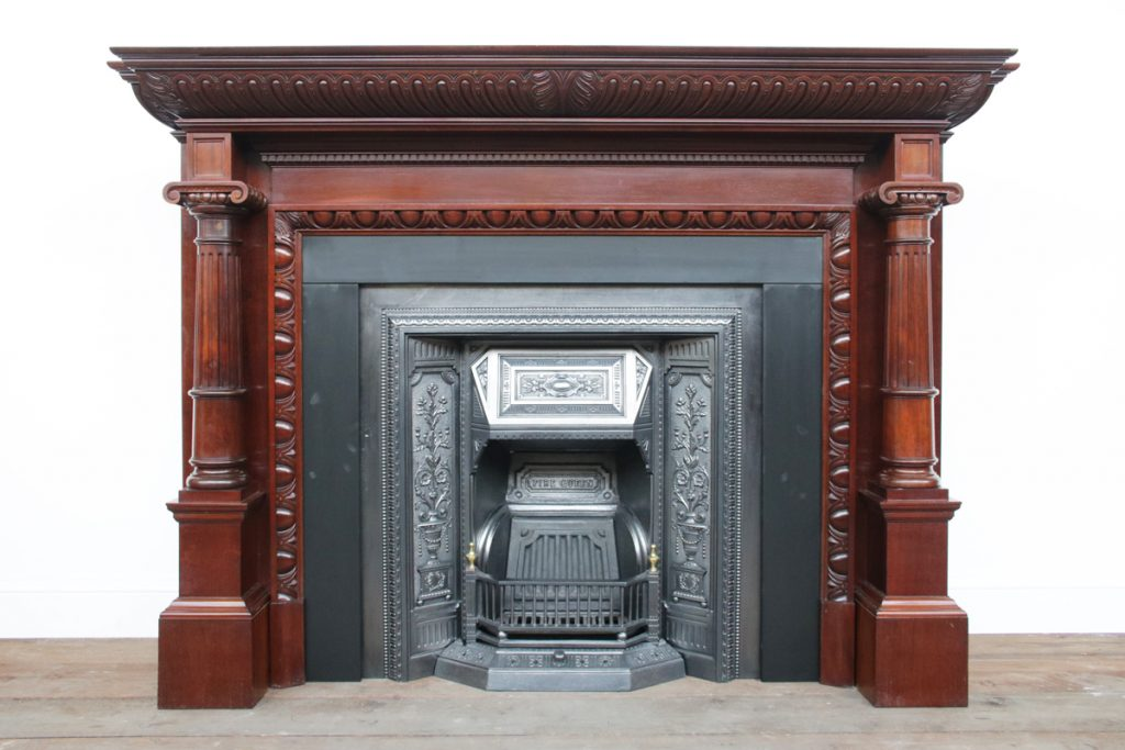 Grand Antique Victorian Walnut Fireplace Surround-0