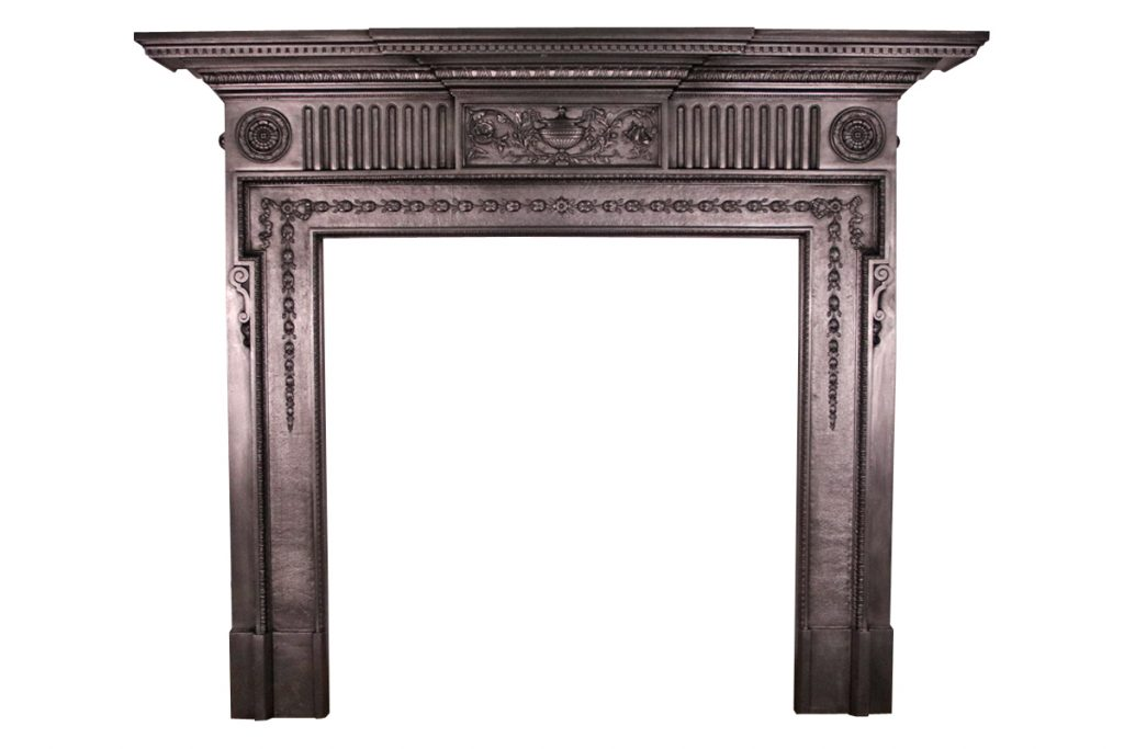 19th Century Victorian cast iron fireplace surround in the Neo-Classical design.-0