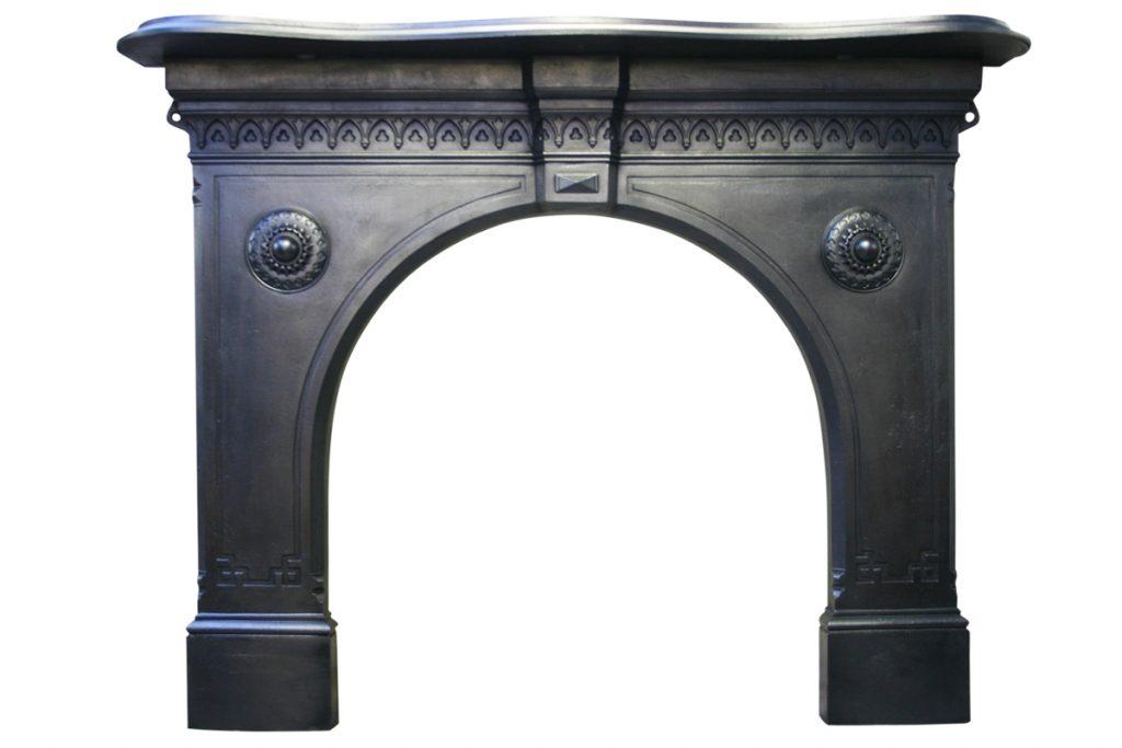 19th century Victorian Gothic cast iron fire surround-0