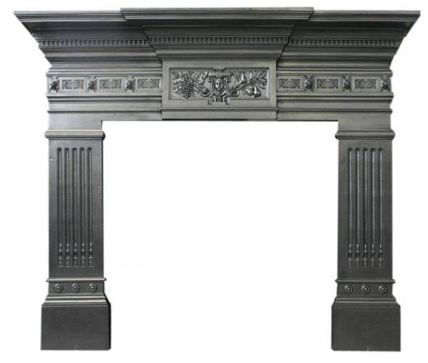 Antique Victorian cast iron fireplace surround-0