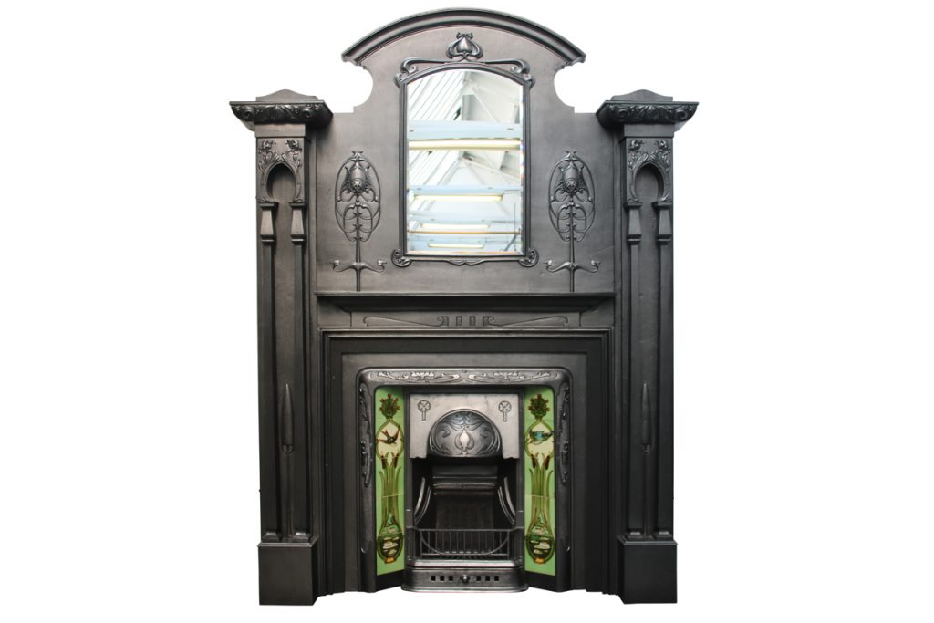 Spectacular and rare tall Art Nouveau Edwardian cast iron fireplace surround-0