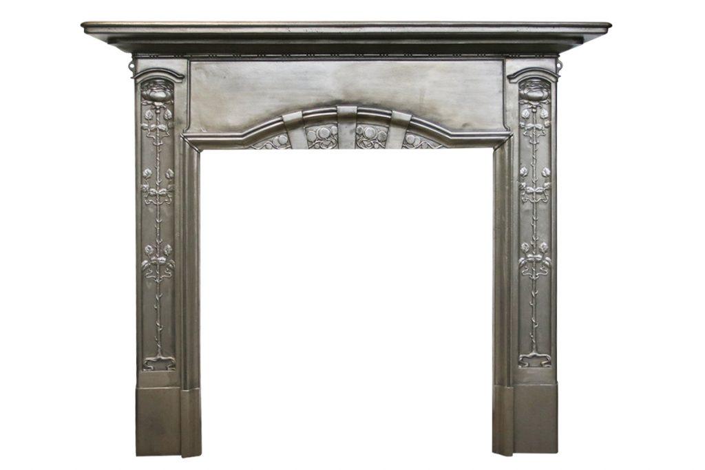Antique Edwardian Art Nouveau Cast Iron Fireplace Surround -0
