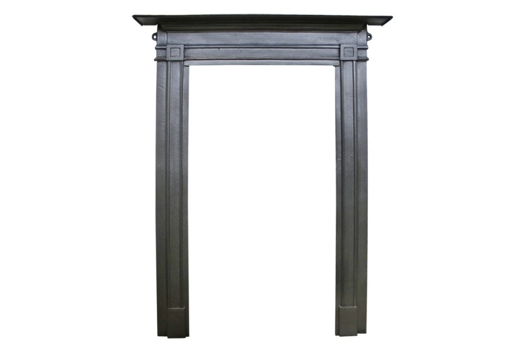 Very simple late 19th century flat cast iron fireplace surround-0