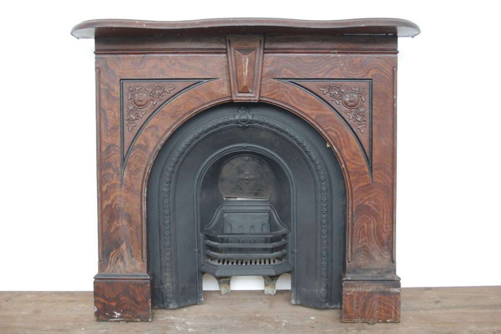 Antique Victorian cast iron arched fireplace surround-0