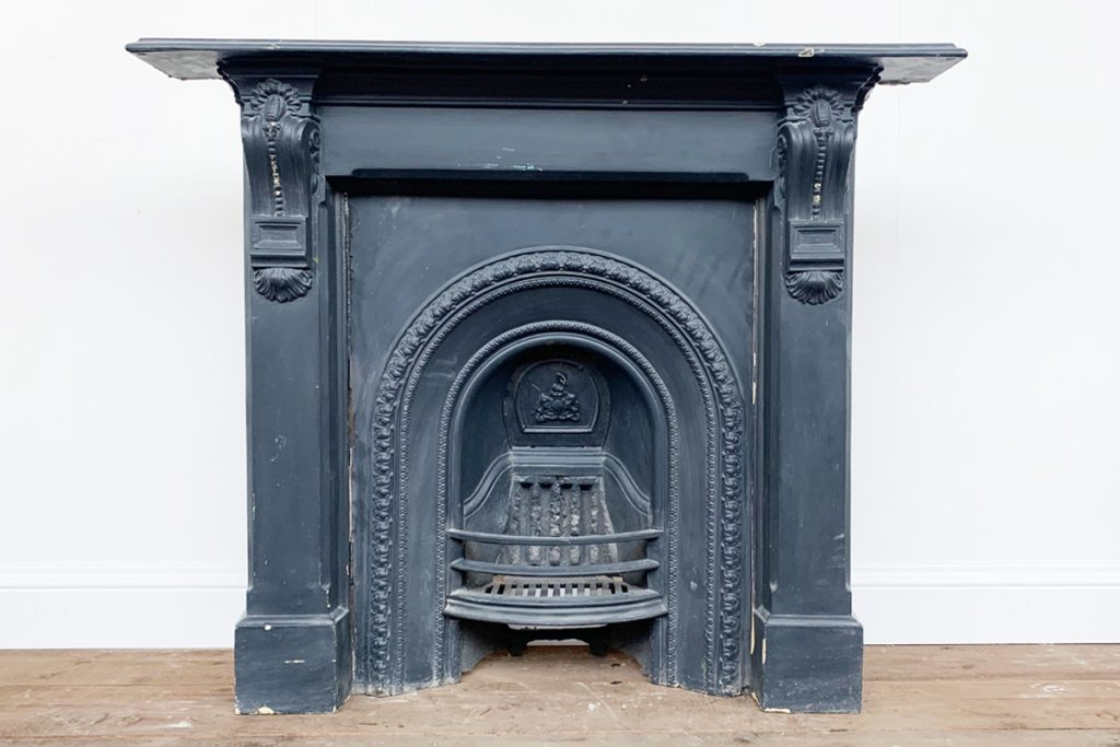 Reclaimed Victorian cast iron arched fireplace surround-0