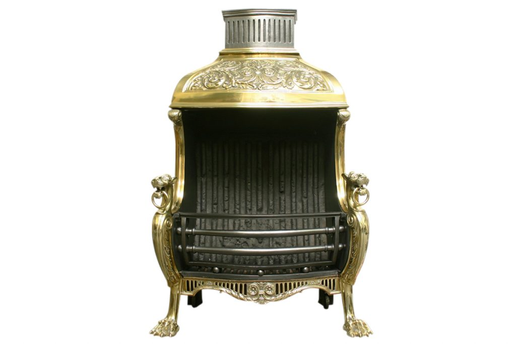 MID VICTORIAN BRASS CANOPIED DOG GRATE IN THE REGENCY STYLE-0